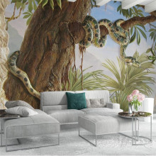 Fondos de papel tapiz de pared personalizados decoración de papel pintado europeo 3D estereoscópico relieve bosque tropical árbol pitón fondo(China)