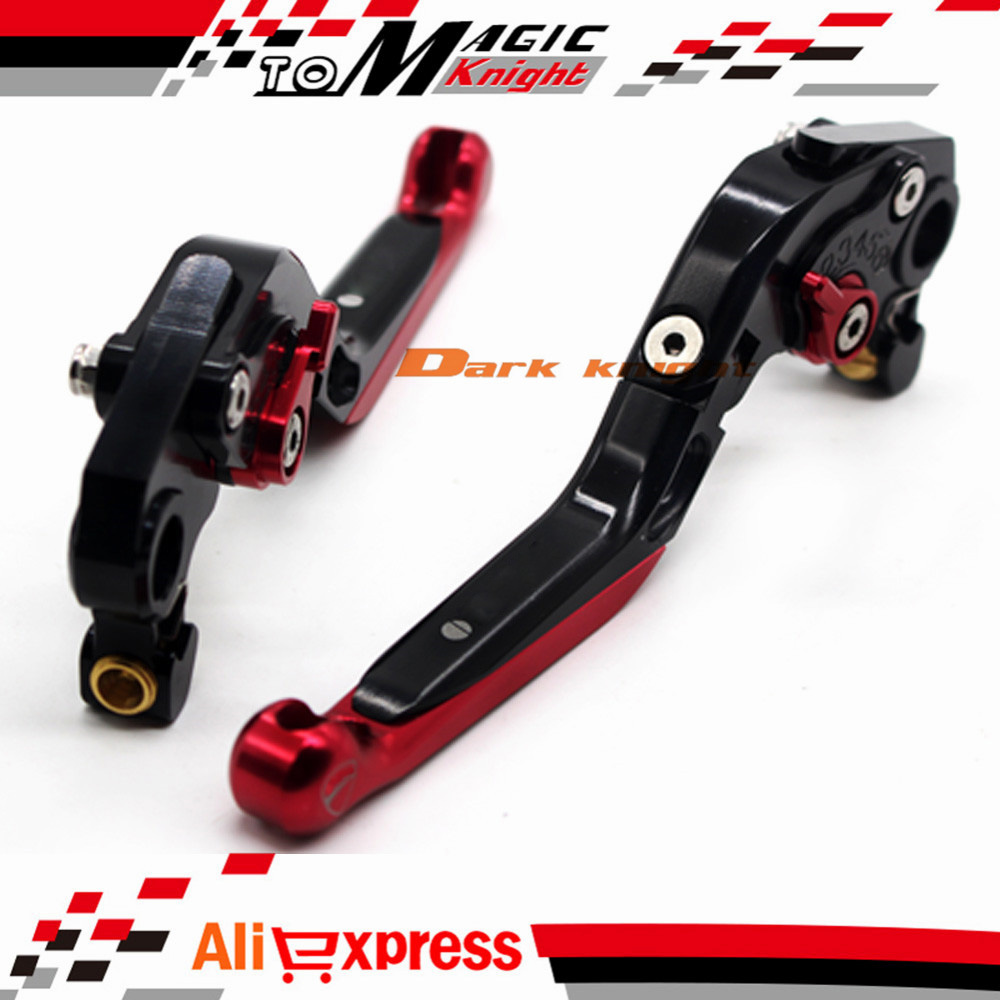 ФОТО For DUCATI MONSTER 659 696 796 Motorcycle CNC Billet Aluminum Folding Extendable Brake Clutch Levers Black+Red