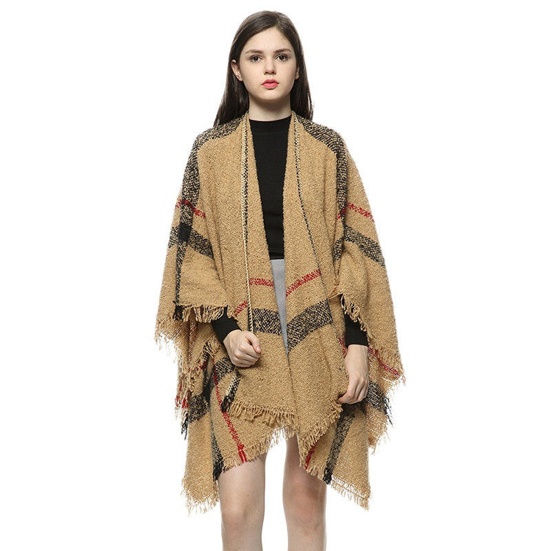 Autumn Winter Woman Classical Poncho Knitted Cape Scarf Irregular font b Tartan b font Cardigans Vintage