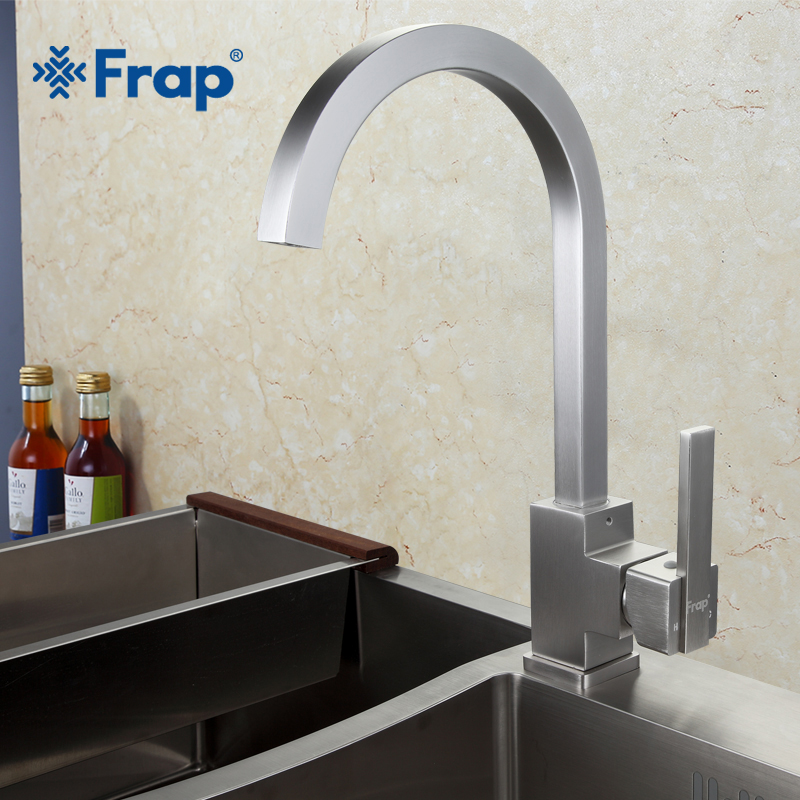 New Arrival Frap Hot and Cold Water Kitchen Faucet Space Aluminum Brushed Swivel Crane 360 degree rotation F4052-5 frap new hot and cold water classic kitchen faucet space aluminum brushed process swivel basin faucet 360 degree rotation fa4052
