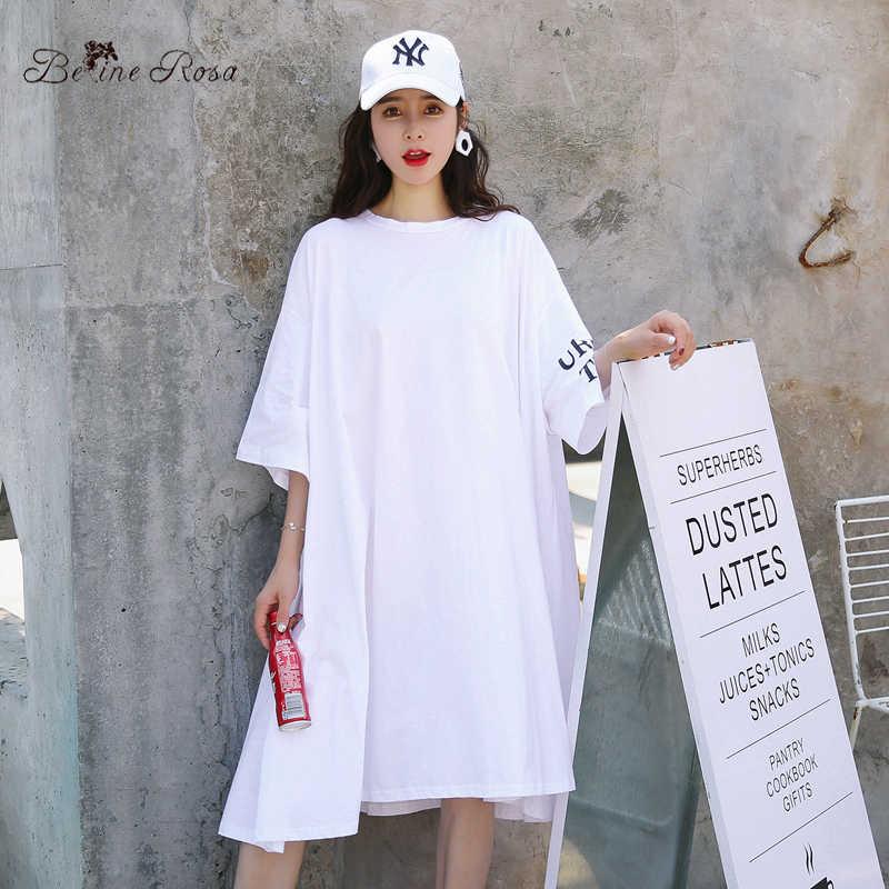 BelineRosa, больше размера d размера плюс, женская одежда, 2018, Повседневная футболка, платье, женское, белое, свободное, модное платье, 5XL 6XL TYFS0002