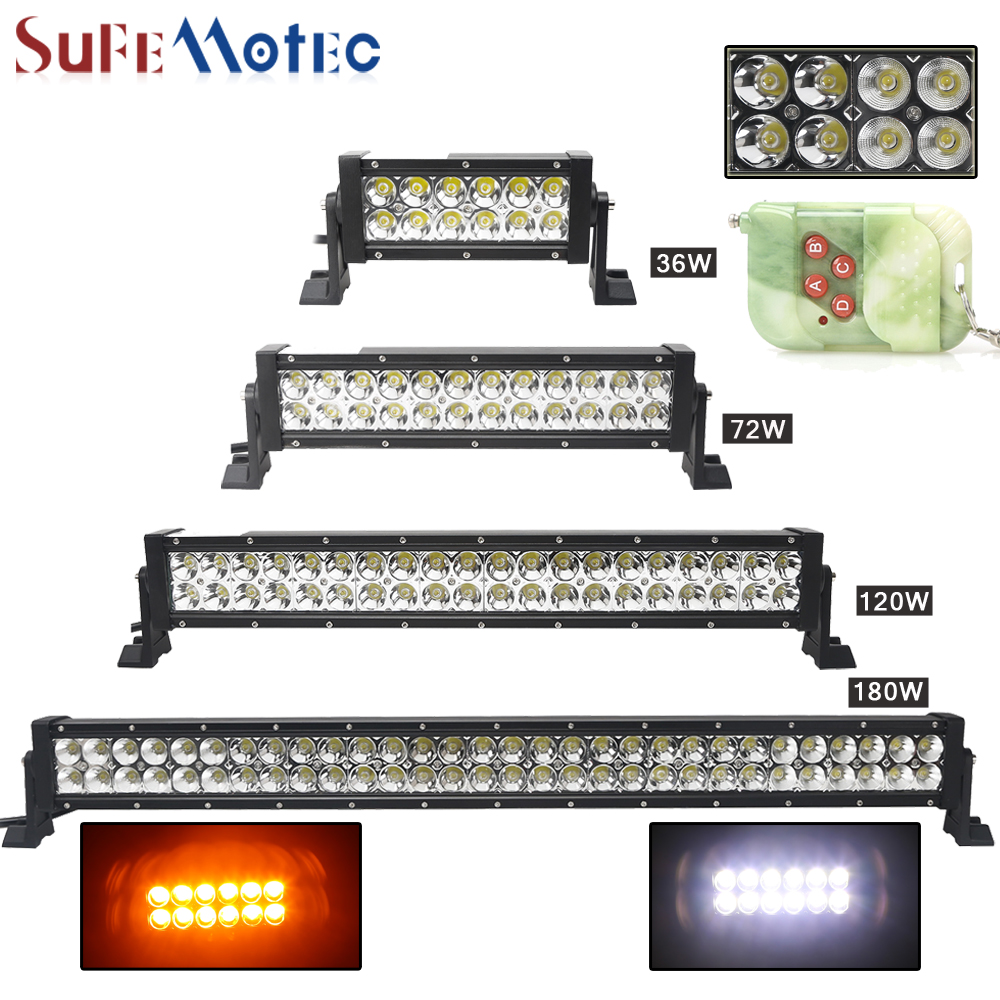 SufeMotec Dual-Row RGB 36W 120W 180W 240W 288W Led Light Bar Straight Strobe Flashing with Remote Controller Spot Combo 4x4 4WD видеоигра бука saints row iv re elected