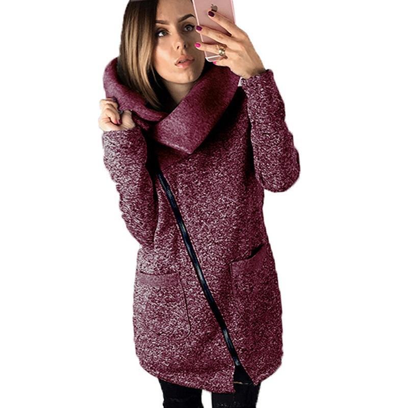 Plus Size 5XL Autumn Winter Women Warm Fleece Jacket Slant Zipper Collared Coat Casual Clothes Overcoat Innrech Market.com