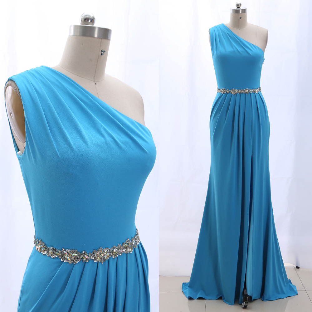 MACloth Sky Blue A-Line One Shoulder Floor-Length Long Crystal Satin   Prom     Dresses     Dress   M 265250 Clearance