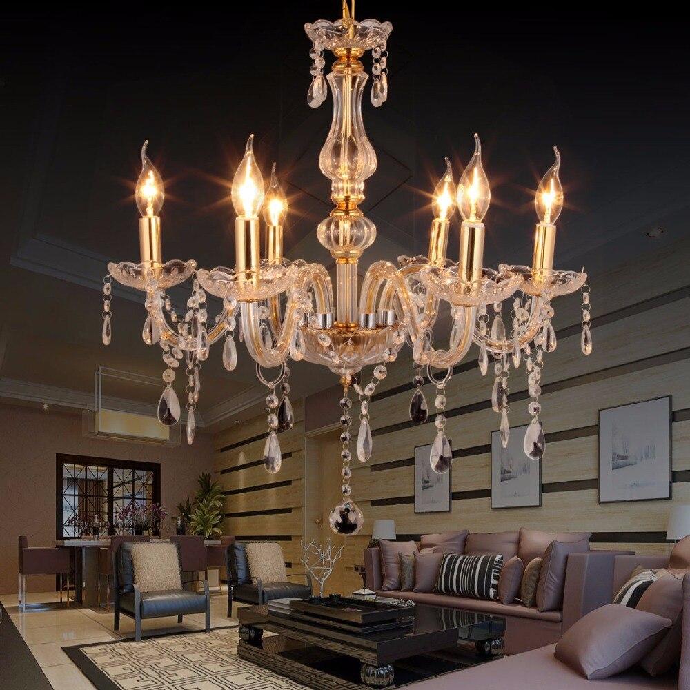 (Livraison à partir de L'UE) Or chandelier en cristal plafonnier Pendentif luminaire Salon 220 V