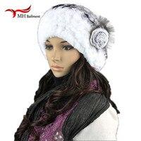 Hats For Women Female Gorro Rabbit Fur Knitted Bonnets Hat Women Winter Thermal Ear Protector Cap
