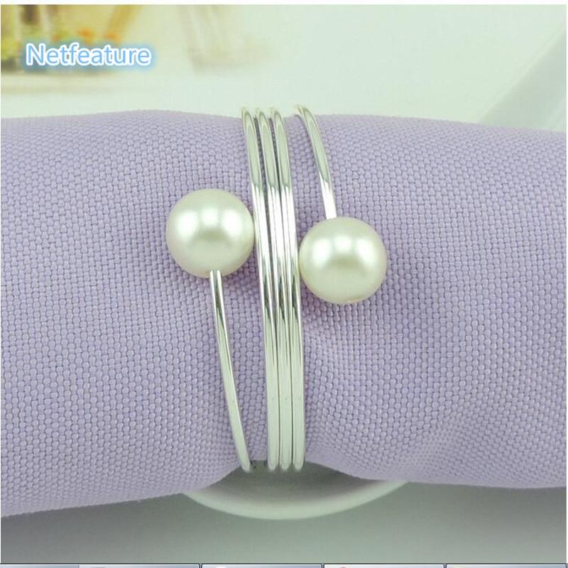 Engros 12pcs / lot Pearl Metal Serviette Holder Til Hotel Bryllup - Køkken, spisestue og bar - Foto 3
