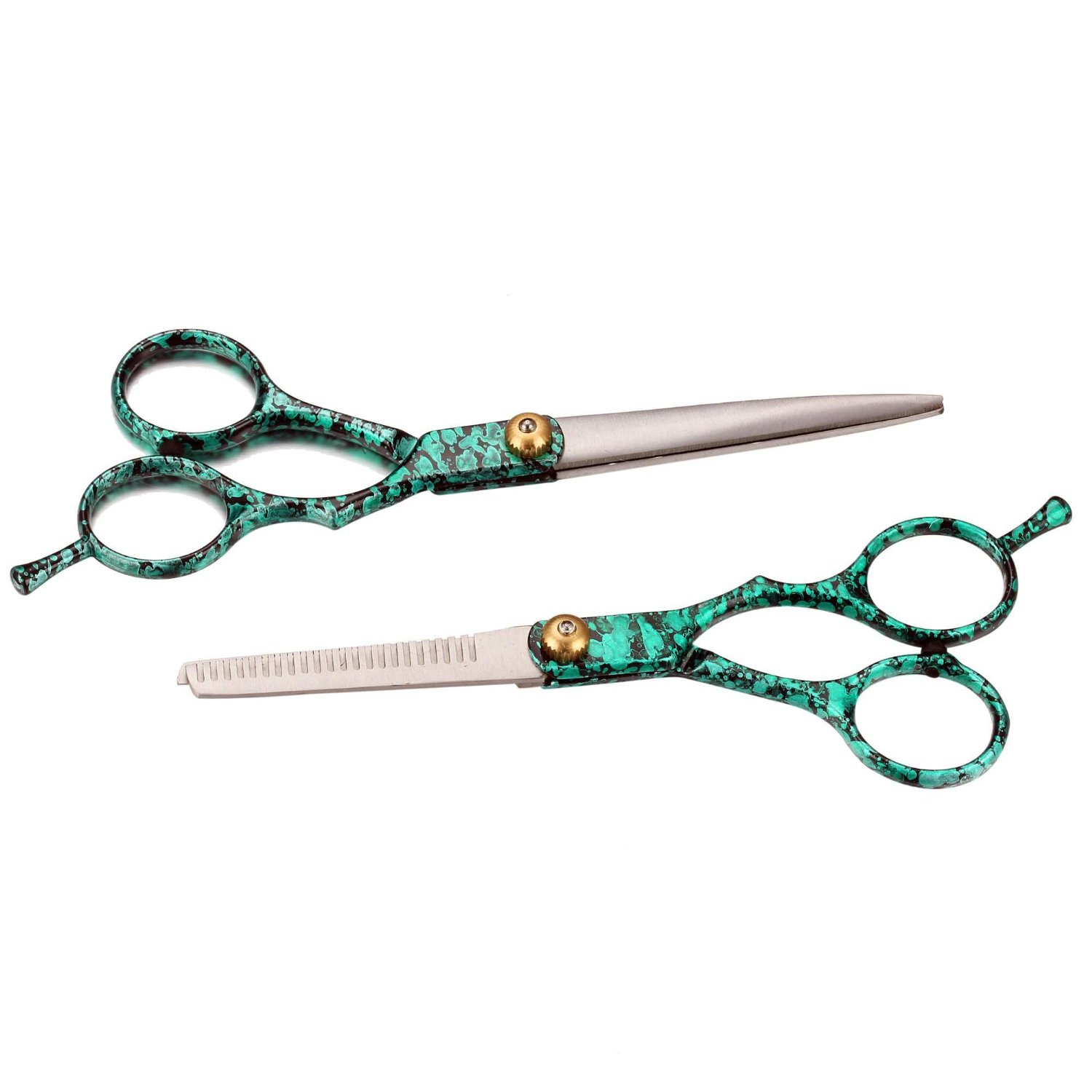 Professional Hairdressing Cutting Thinning Stainless Steel Scissors 2PCs Set Green