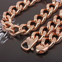 15mm Rose Gold Color Stainless Steel Curb Chain Necklace Mens Hip Hop Jewelry High Quality Gift