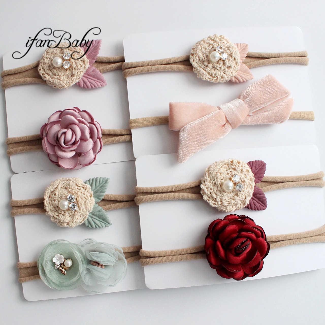 Linda diadema de flores niña niños diadema de nailon Flor de tela con diamantes de imitación lazo artículo para la cabeza