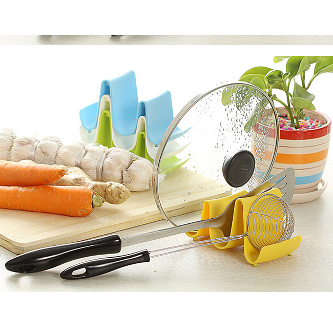 New Wave Style Pan Pot Cover Spoon Rack Stand Holder Kitchen Accessories Utensil Tool Random Color Beauty Use