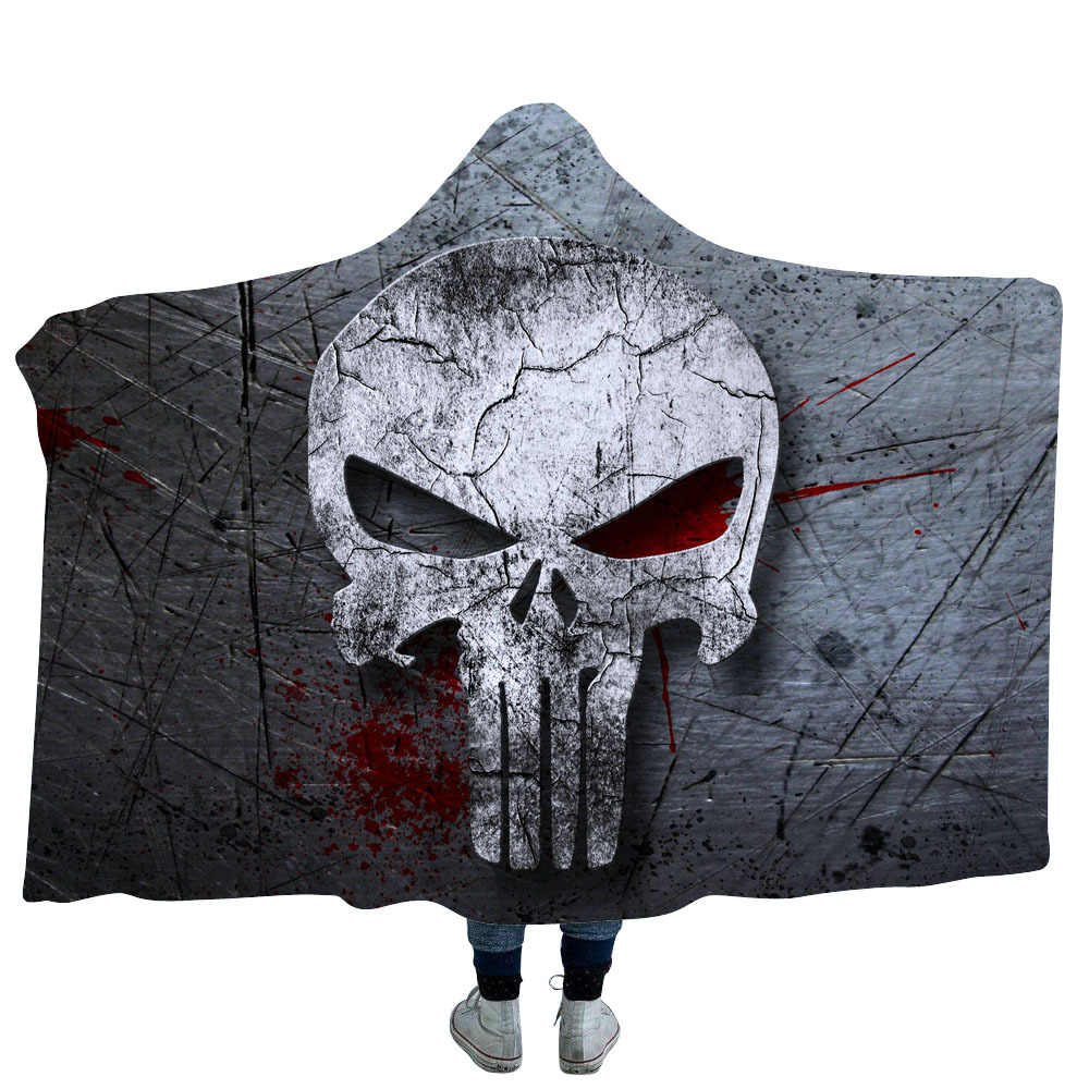 3D Printed Skull Halloween Thicking Hooded Blanket for Adult Gothic Sherpa Fleece Wearable Throw Blanket Microfiber