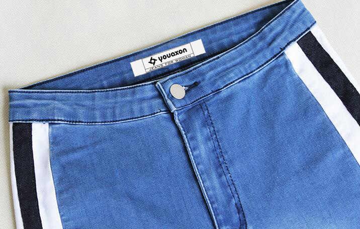 CatonATOZ 2136 kobiety gorąca elastyczna wysoka talia boczne paski spodnie jeansowe spodnie jeansy dla kobiet