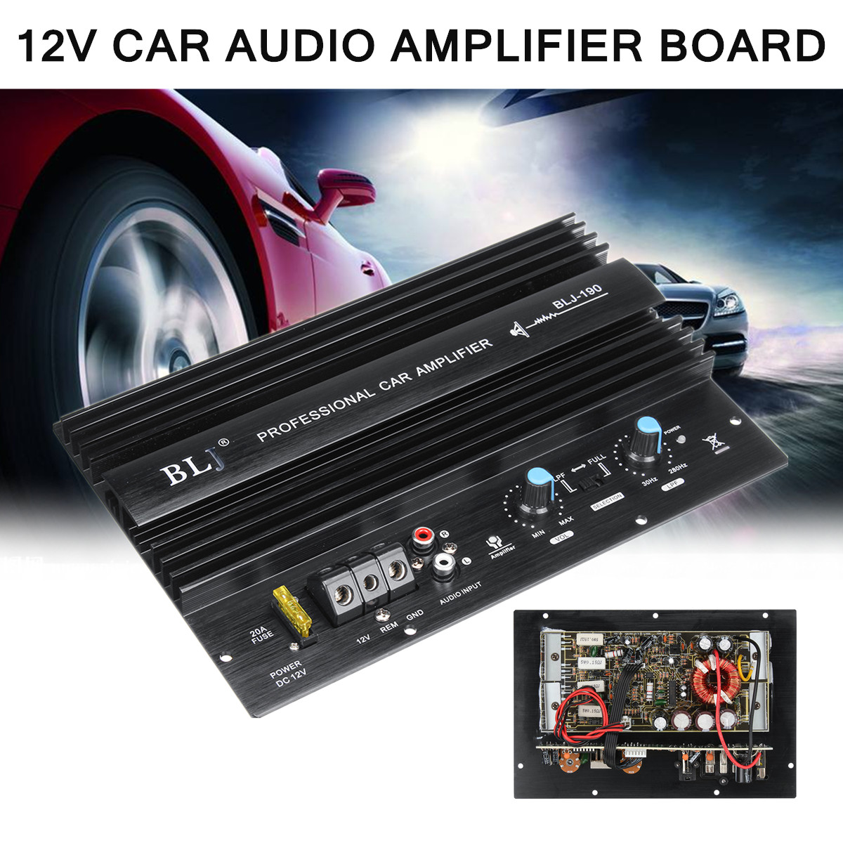 12V 1000W Powerful Bass Subwoofer 105dBA Mono Car Audio High Power Amplifier Amp Board Thermal Overload Protect Powerful Bass kroak 12v 600w car amplifier board powerful subwoofer car audio amplifier mono stereo power amplifier bass black