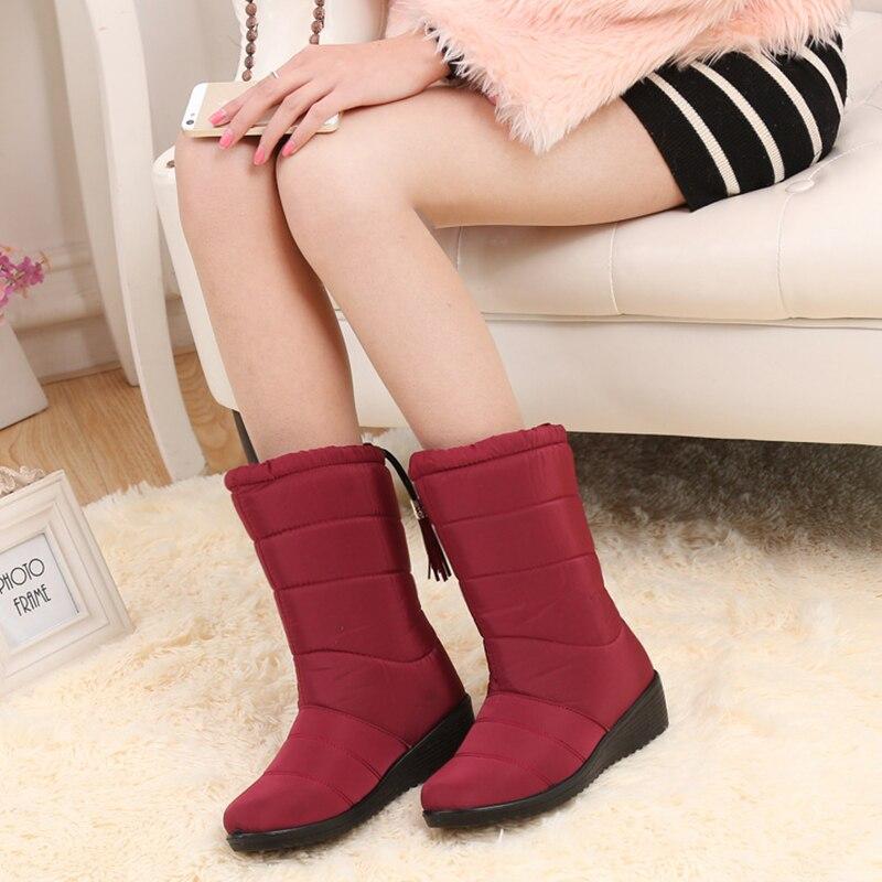 = BIGTREE 2018 femmes bottes hiver femmes bottines imperméable chaud femmes bottes de neige femmes chaussures femme chaud fourrure Botas Mujer
