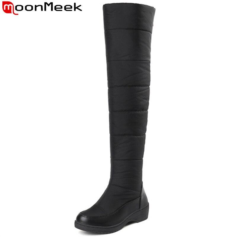 8e6e8a922f MoonMeek inverno mulheres botas com zíper Manter botas de pelúcia quente  Para Baixo À Prova D