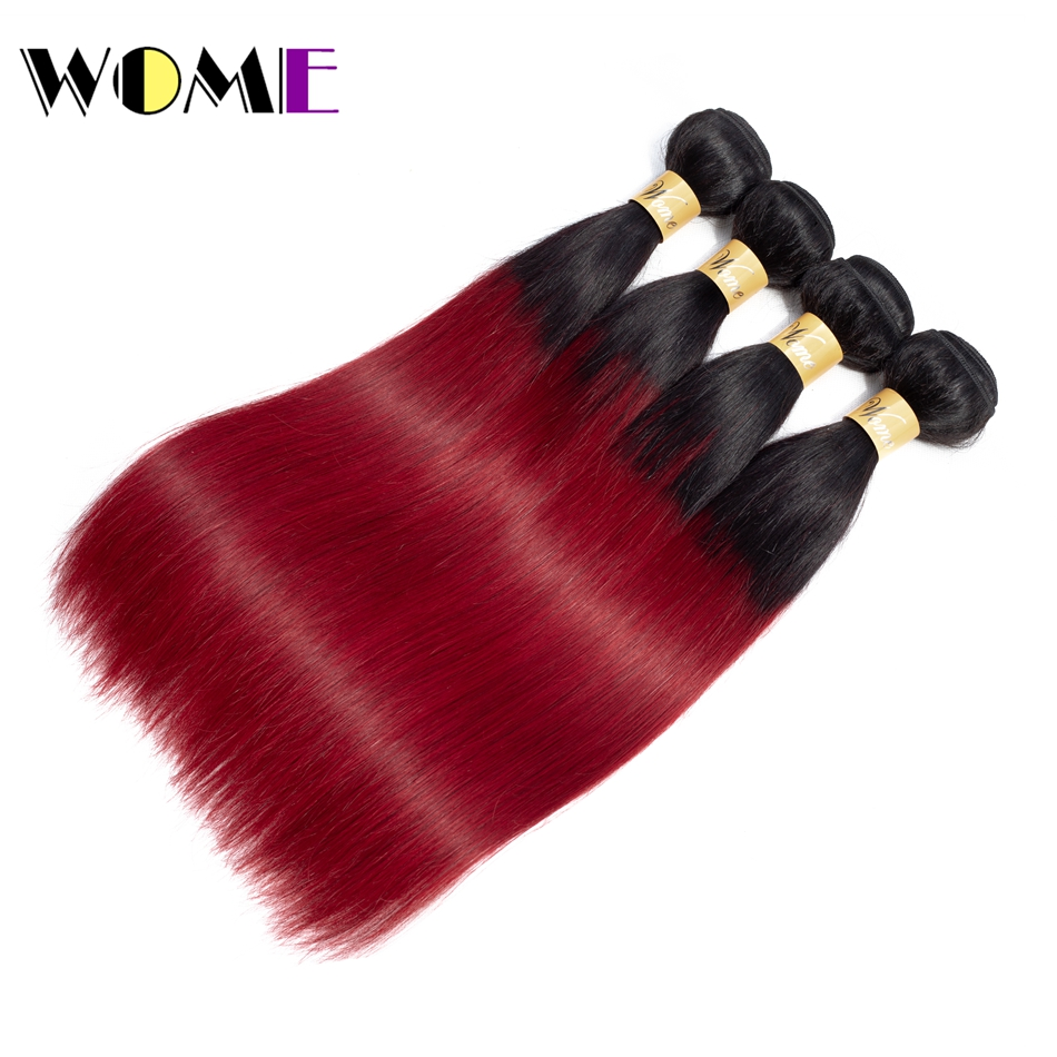 Wome Mongolian Straight Hair Burgundy Bundles Human Hair Weave Non Remy Ombre 1b/burgundy Hair Extension 10 26 inch 4 Bundles