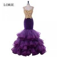 Purple Mermaid Evening Dress 2018 LORIE Abendkleid Ruffles Gold Lace Beaded Long Prom Dresses Arabic Women Formal Party Dress