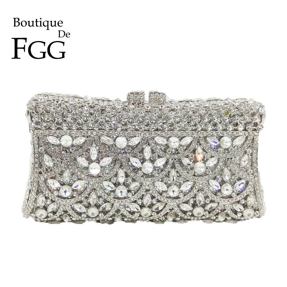 Здесь продается  Boutique De FGG Socialite Hollow Out Flower Women Crystal Evening Handbags and Purses Bridal Wedding Party Diamond Clutch Bag  Камера и Сумки