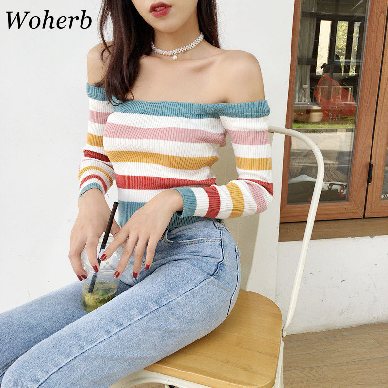 Woherb 2020 Autumn Sexy Off Shoulder Tops Women Knit Sweater Casual Loose Striped Pullover Sweaters Pull Femme 20082