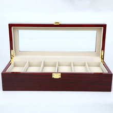 6 Grids Wooden watch High grade paint Window Watches Box Display Boxes Case Showing cajas para