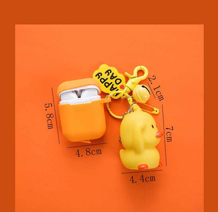 Nowy mały żółty kaczka lalka brelok dla dla przypadku AirPods przypadku Cute Cartoon pokrywa ochronna bezprzewodowy etui na słuchawki