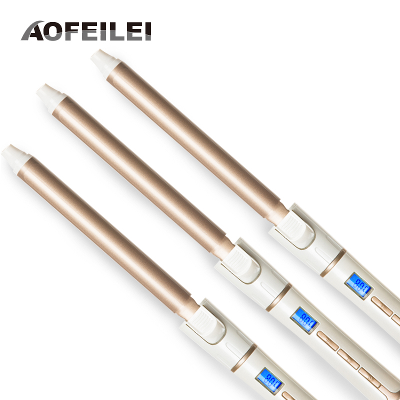 Three pieces of Ceramic Electric Hair Waves Curling Iron Digital Professional Hair Curler Roller Wand Styler Styling Tools