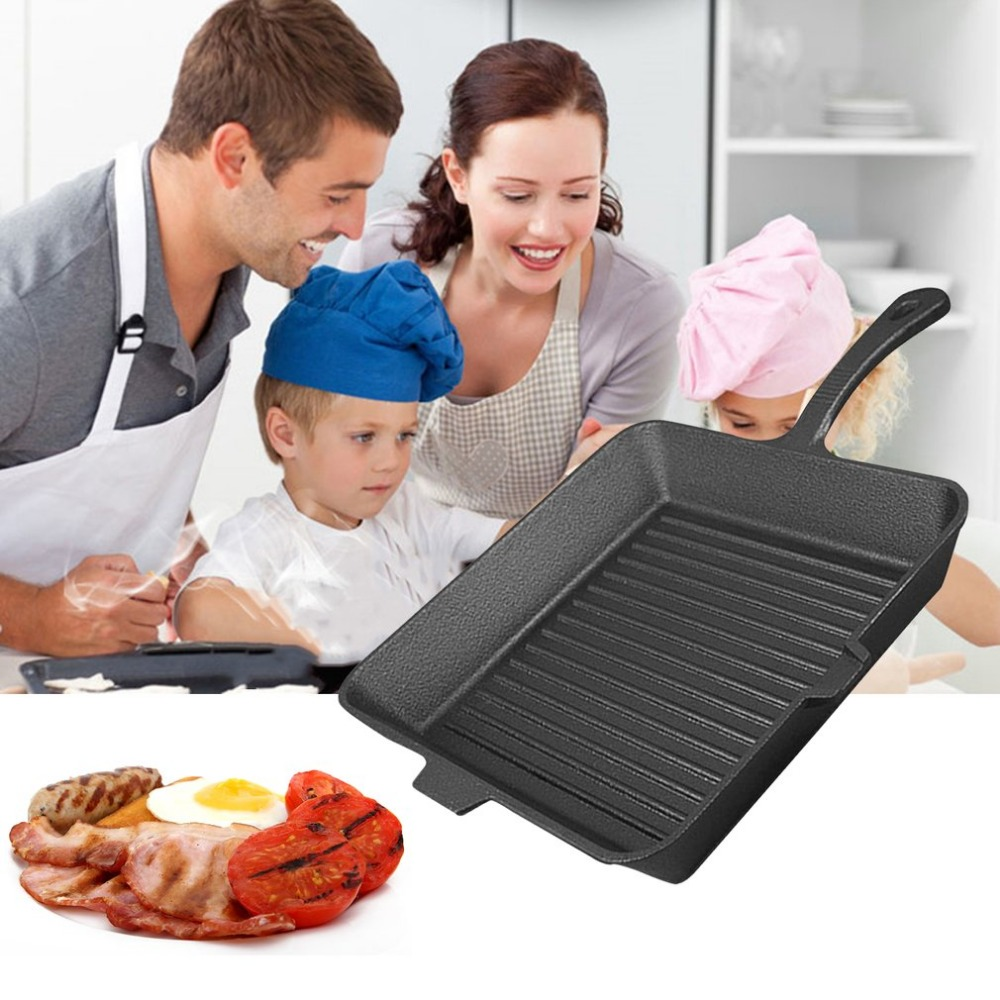 PREUP Non sticky Cast Iron Steak Frying Pan Breakfast Frying Pan General Use for Gas Induction Cooker Kitchen cook Tools Hot Hot