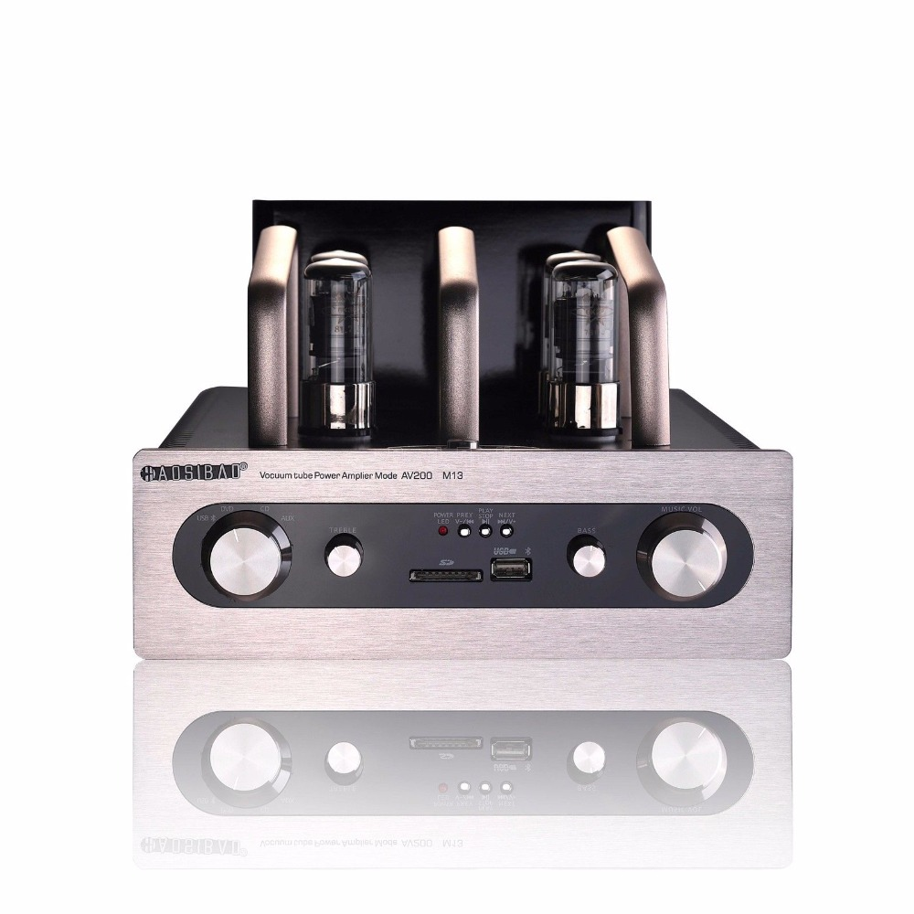 HiFi Vacuum Tube Power Amplifier Stereo Intergrated Amp w/ Bluetooth USB SD Card ifound 8800mah dual usb mobile power source w sd card reader led flashlight golden