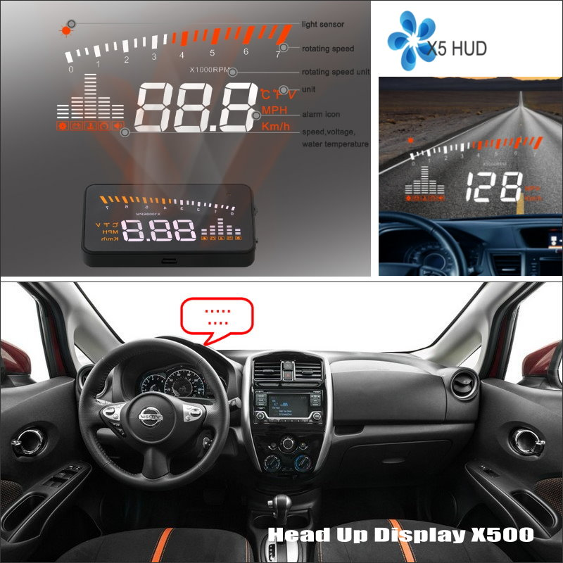 ФОТО Car HUD Head Up Display For Nissan Versa Note 2013 2014 2015 - Refkecting Windshield Screen Safe Driving Screen Projector