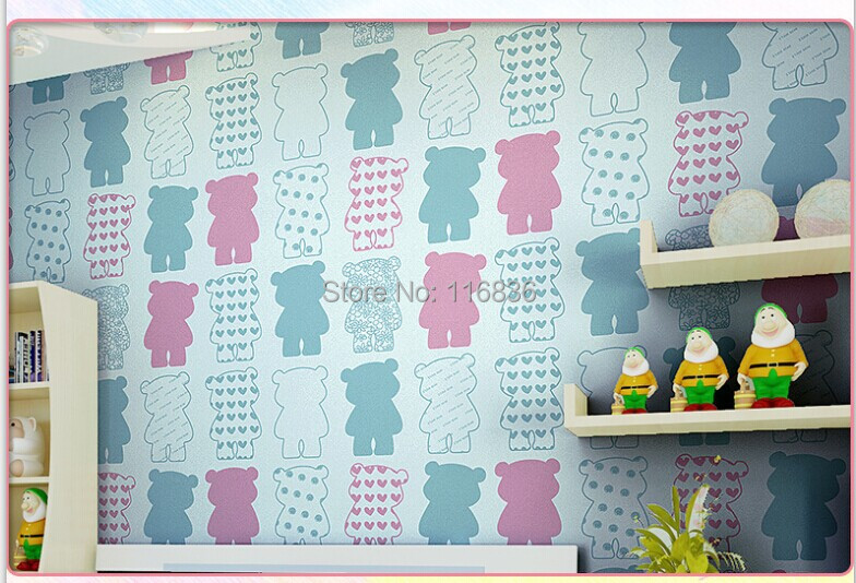 Wallpaper Cartoon Blue Bear Textured Wallcoverings Vintage Decal For