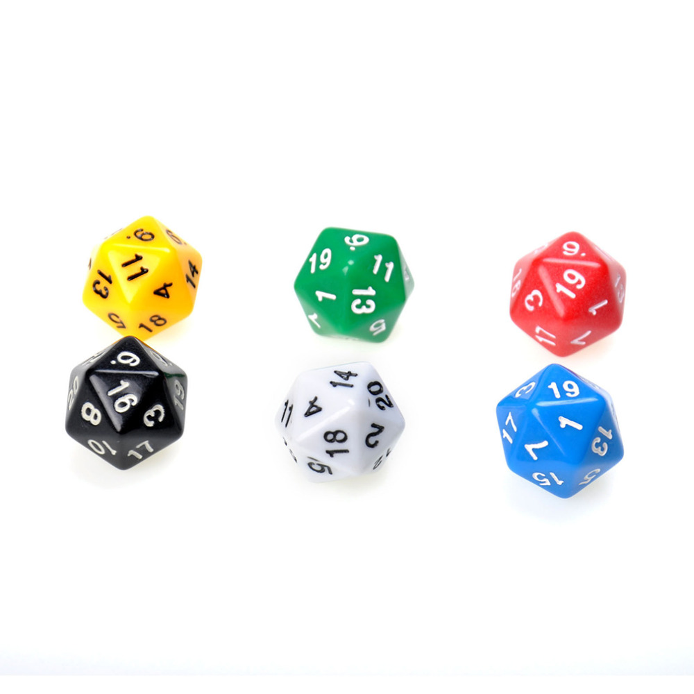 6 Set D20 Dice Twenty Sided Die RPG D&D Six Opaque Colors Multi Resin Polyhedral For Sides Dice Pop for Game Gaming