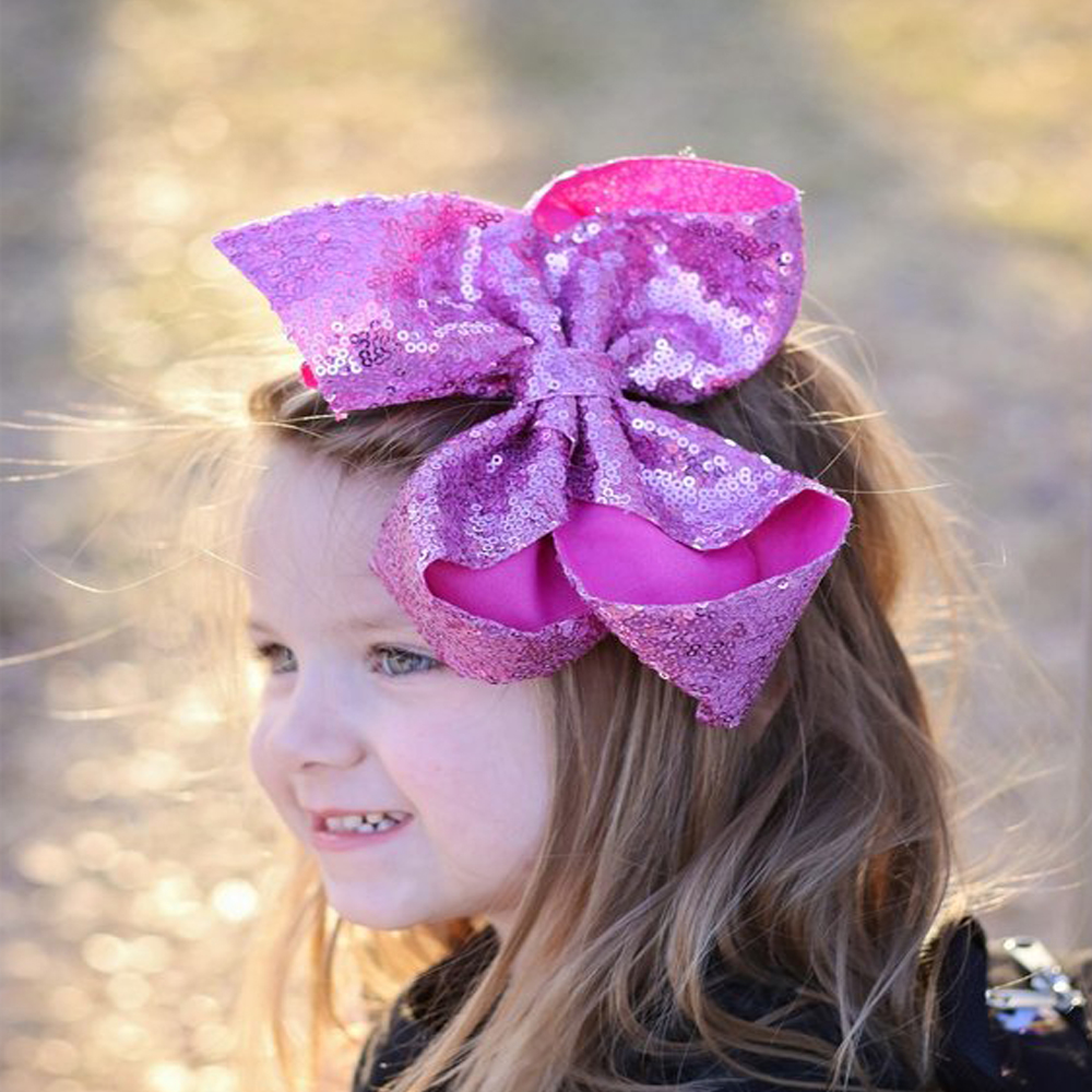 8 Inch Sequin Large Hair Bow With Clip For Girls High Quality Bright Color Hairbows Kids Bcak School Hair Accessories