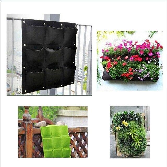 Vertical Planter Part - 21: Garden 9 Pockets Wall Vertical Garden Grow Bags For Plants Flower Hanging  Felt Planter Bags For