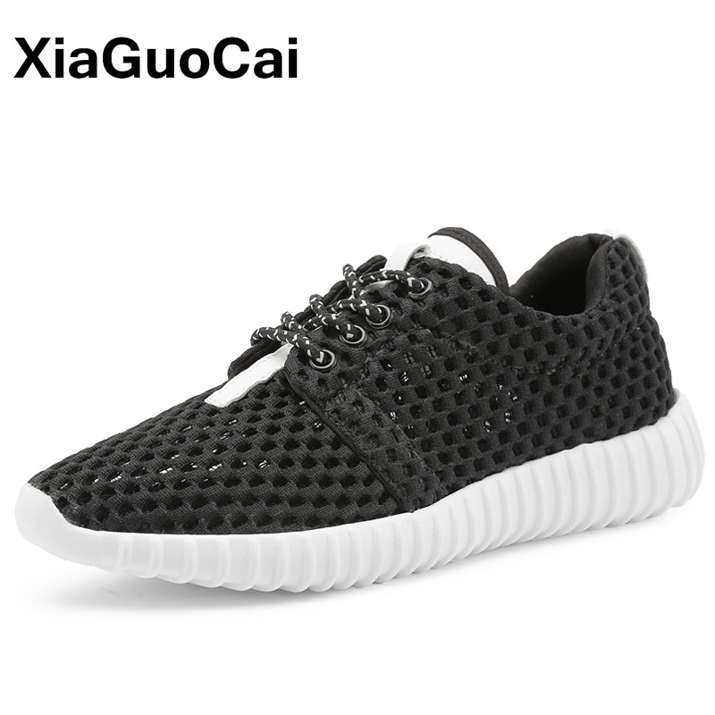 XiaGuoCai Spring Women's Casual Shoes Breathable Women Flats Fashion Lace Up Summer Female Mesh Footwear Sneakers spring summer casual mesh shoes lovers flat shoes lace up breathable footwear female vintage sneaker trainers sapatos masculino
