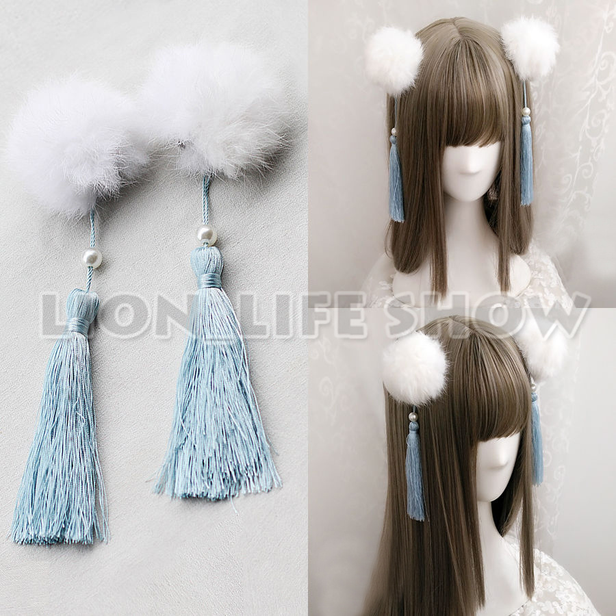 Women Chinese Lolita Fluffy Faux Fur Ball Headwear Hairclip Cosplay Accessary