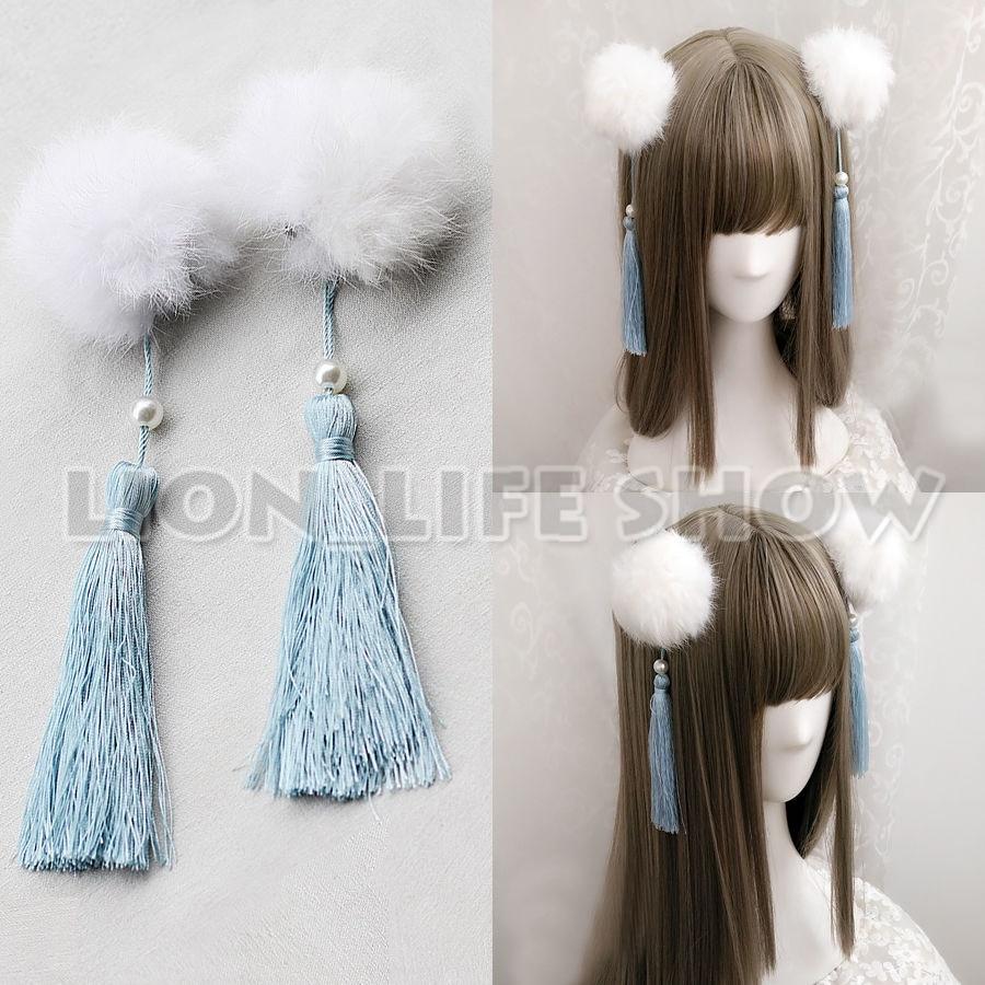 Women Chinese Lolita Fluffy Faux Fur Ball Headwear Hairclip Cosplay Accessary
