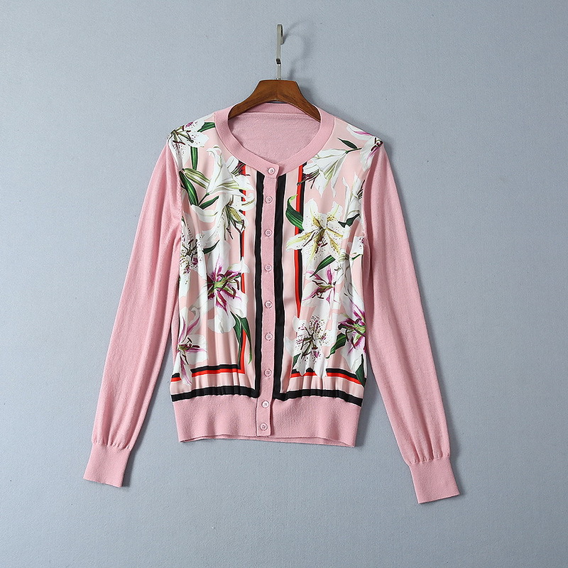 2019 printemps automne femme laine chandail veste col rond Cardigan mince à manches longues imprimer mode rose chandail veste manteau n27