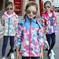 New Autumn big virgin girls sports and leisure fashion handsome hooded windbreaker jacket tidal range of Kids GB Code