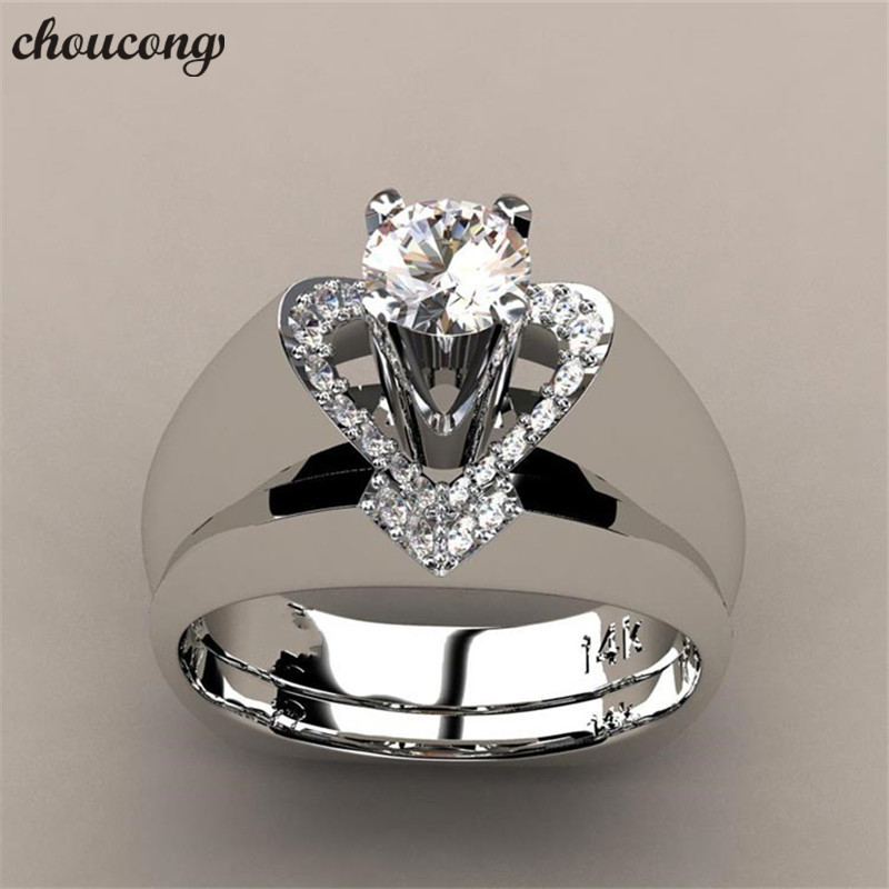 Choucong Heart Promise Bridal Ring Set White Gold Filled