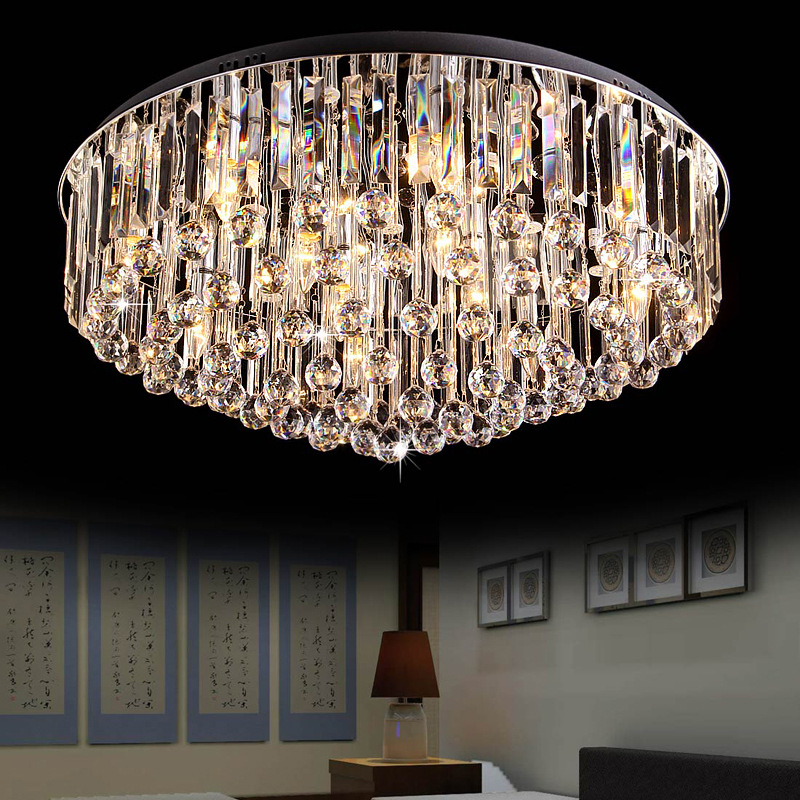 Round crystal ceiling light for living room remote - Living room ceiling light fixture ...