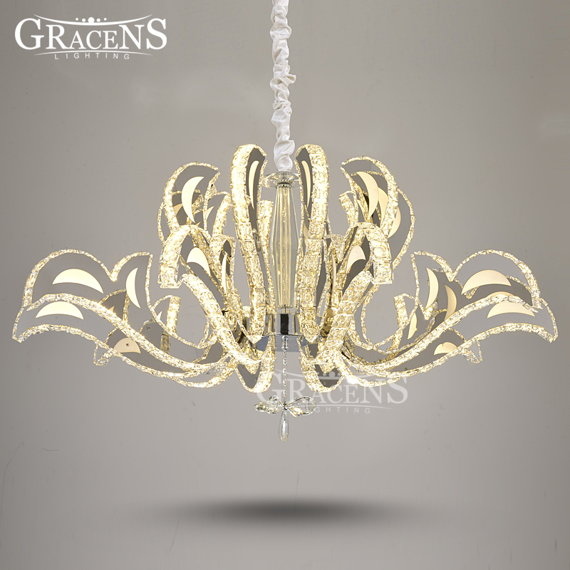 Modern LED Crystal Pendant Lighting Stainless Steel Finished Clear Crystal Lustre Hanging Lamp Blooming Flower for Home Decor