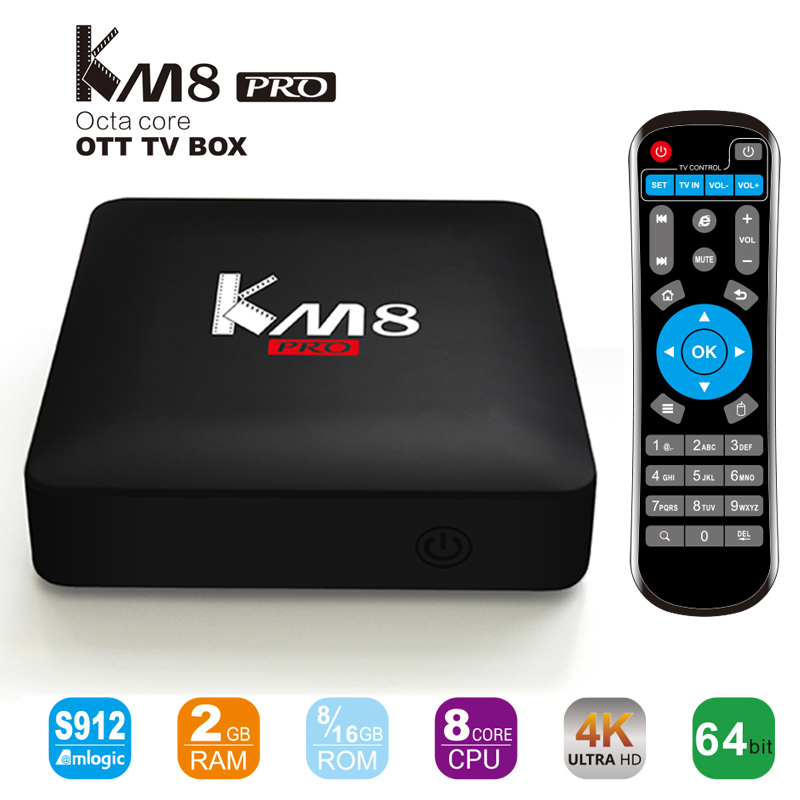 KM8 Pro Smart TV Box Android 6.0 TV Box Amlogic S912 Octa Core RAM 2GB ROM 16GB Bluetooth 4.0 2.4G/5G Dual WIFI 4K Set Top Box zidoo h6 pro smart set top box 2gb ram 16gb rom android 7 1 2 4g 5 0g wifi 1000m gigabit lan bluetooth 4 1 tv box