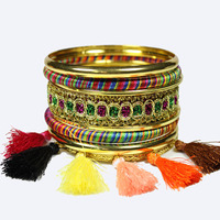 LADYMEE Bracelet Bangles Pulseiras Gold Color Bracelets for Women Trendy Bohemain Tassel Metal Bracelet Bangle Indian Jewelry