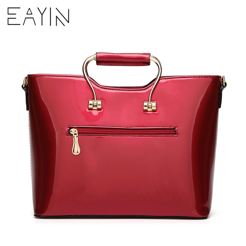 1f1ff64c23 EAYIN Black Patent Leather Tote Bag Handbags Women Famous Brands Lady s  Lacquered Bag Red Flower Handbag for Women Shoulder Bag -in Shoulder Bags  from ...