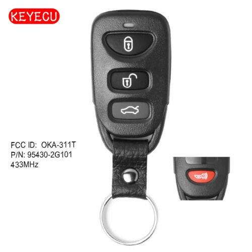 Дистанционный ключ Keyecu с 3 кнопками и 1 Кнопкой 433 МГц для Kia Optima 2010-2011 FCC ID: Φ