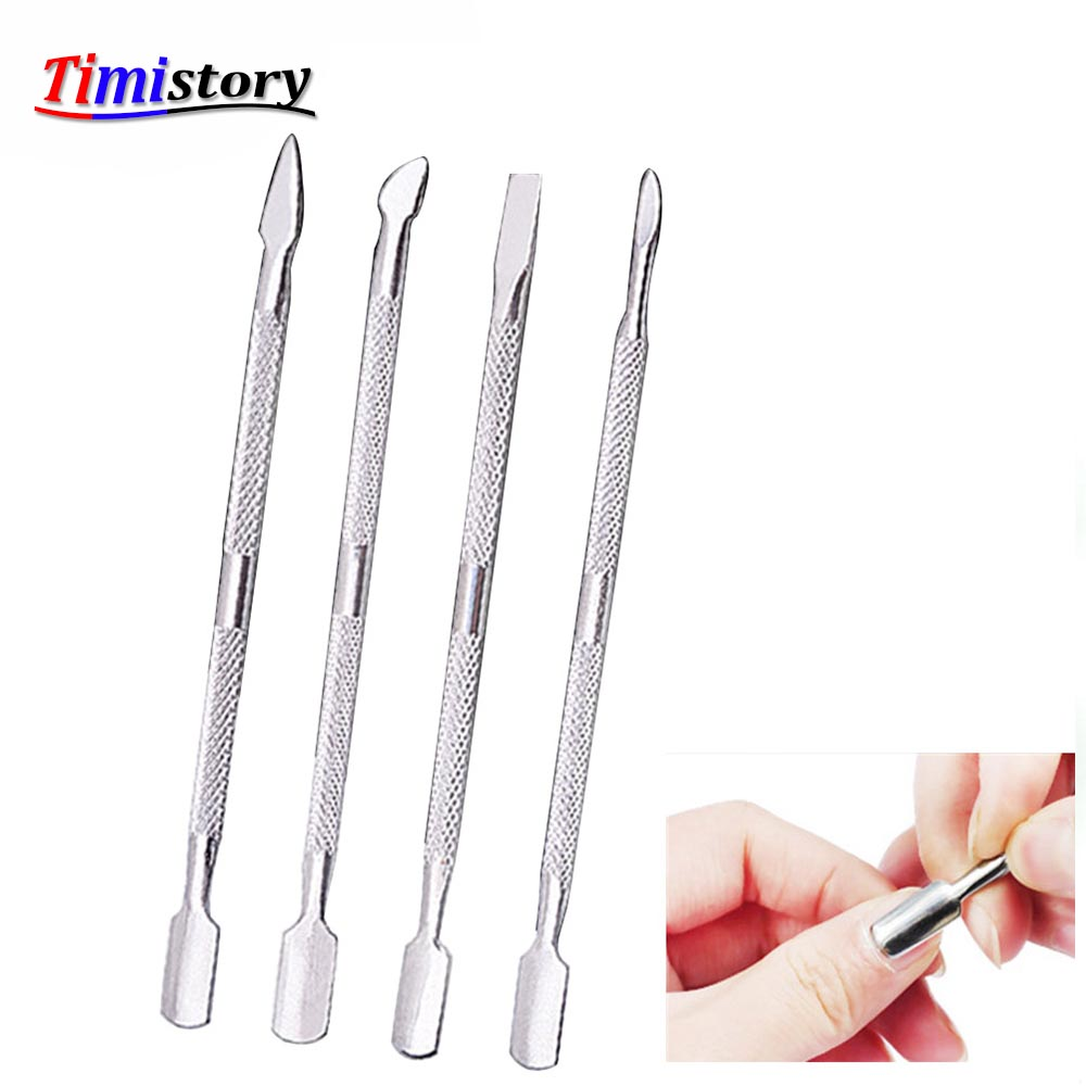 Jewhiteny 4 stks Cuticle Remover Rvs Push Nail Cuticle Pusher - Nagel kunst