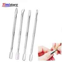 Jewhiteny 4pcs Cuticle Remover Stainless Steel Push Nail Cuticle Pusher Manicure Finger Dead Skin Push Double Sided Nail Care