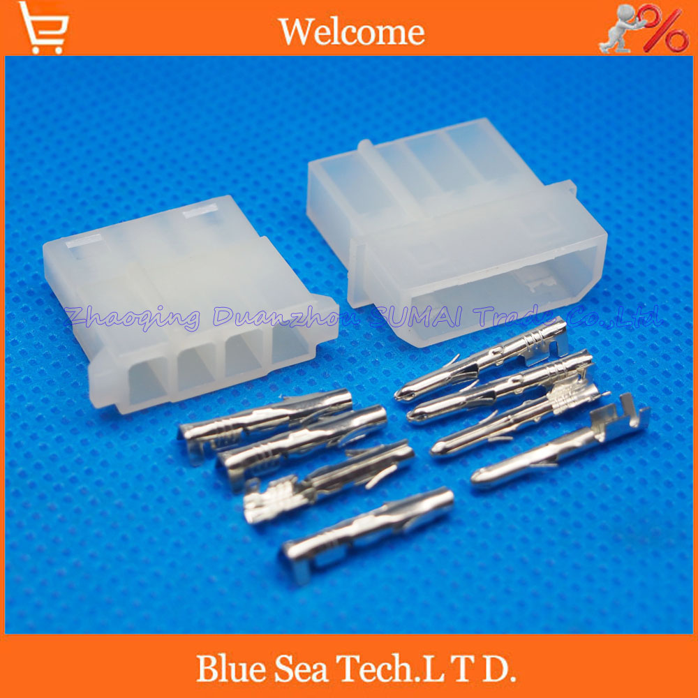 20 sets 4 Pin/way 5.08mm pitch 8981-4P Electrical connector kit (Housing+Terminal) for PCB/car/boat/motorbike ect