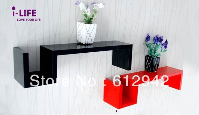 Only Wholesales 100PCS S shaped MDF floating wall shelves/shelf wall mount by ocean shipping